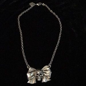 Rock Rebel Skull & Bow Silver Necklace